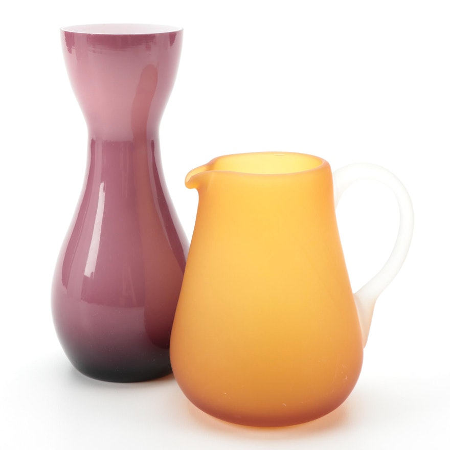 Ombré Glass Vase and Frosted Orange Glass Pitcher