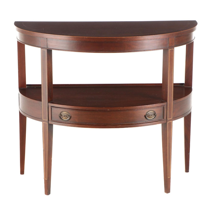 Brandt Federal Style String-Inlaid Mahogany Demiline Console Table