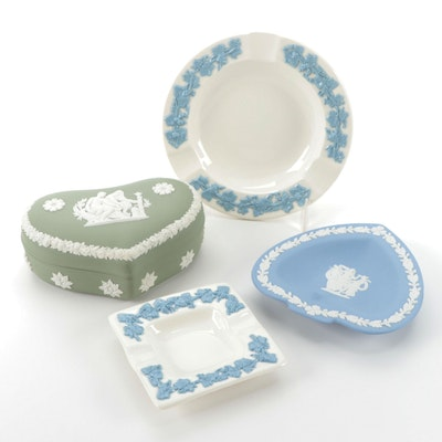 Wedgwood Green and Blue Jasperware Ashtrays and Heart Box