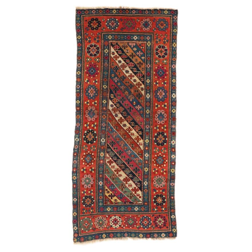 3'6 x 7'11 Hand-Knotted Caucasian Kazak Carpet Runner, 1900s
