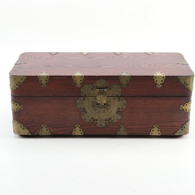 Chinese Wooden Box with Brass Fittings