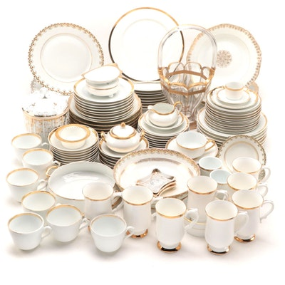 "Paul Muller ""Baronial"" with Limoges and Other Gold Rimmed Dinner and Tableware"