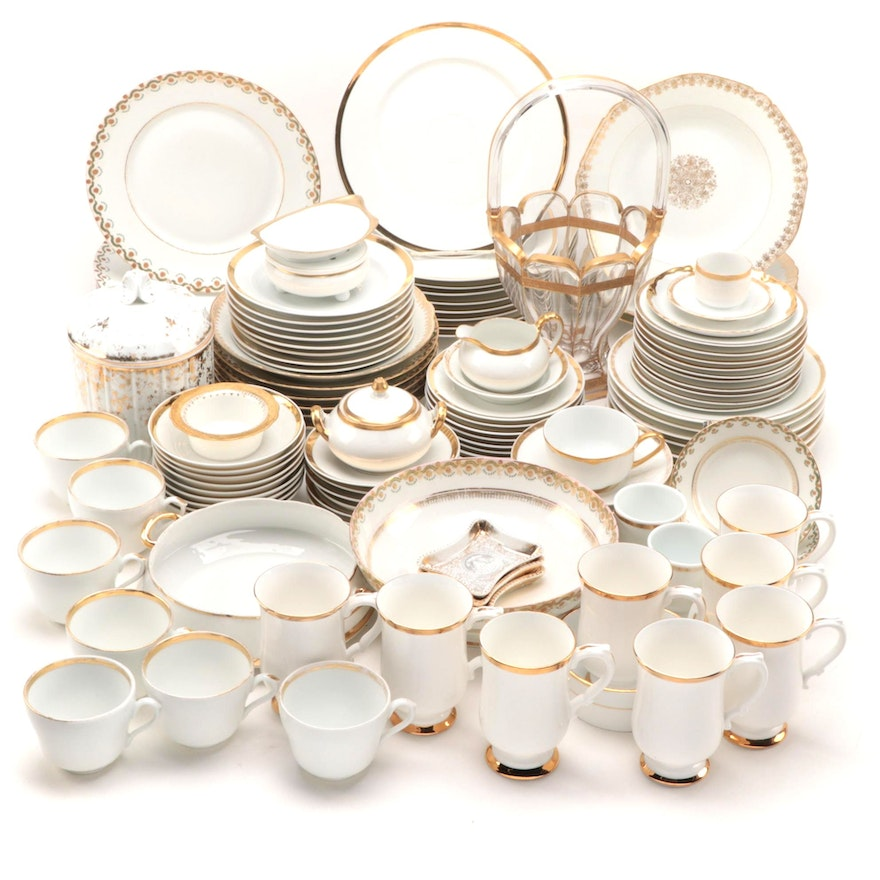 """Paul Muller """"Baronial"""" with Limoges and Other Gold Rimmed Dinner and Tableware"""