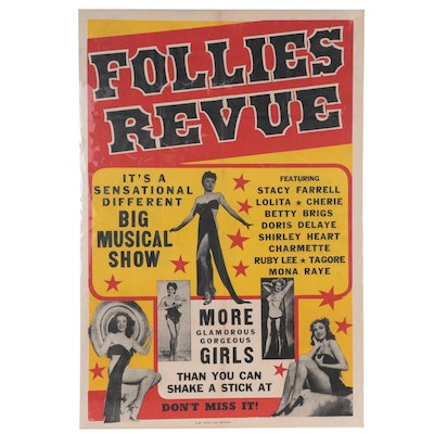"""Follies Revue"" Advertising Lithograph Theatre Poster"