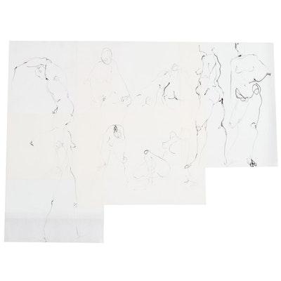 John Tuska Figure Study Ink Drawings on Paper