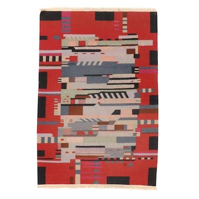 4'1 x 6'2 Handwoven Turkish Kilim Arts-and-Crafts Style Rug, 1990s
