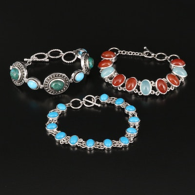 Sterling Bracelets Including Carnelian, Chalcedony, Chrysocolla and Turquoise