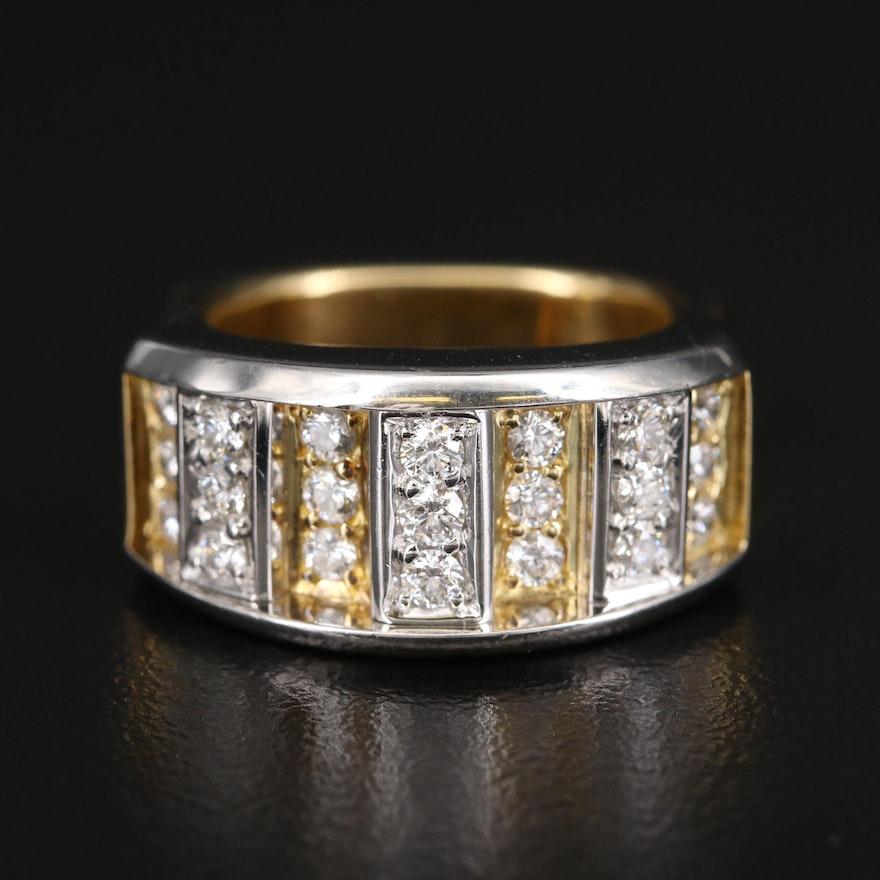 18K and Platinum Diamond Multi-Row Ring