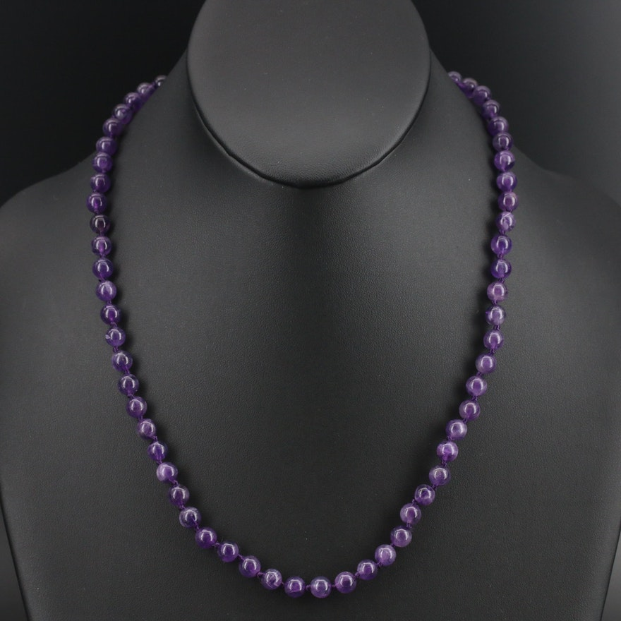 Amethyst Bead Necklace with Sterling Clasp
