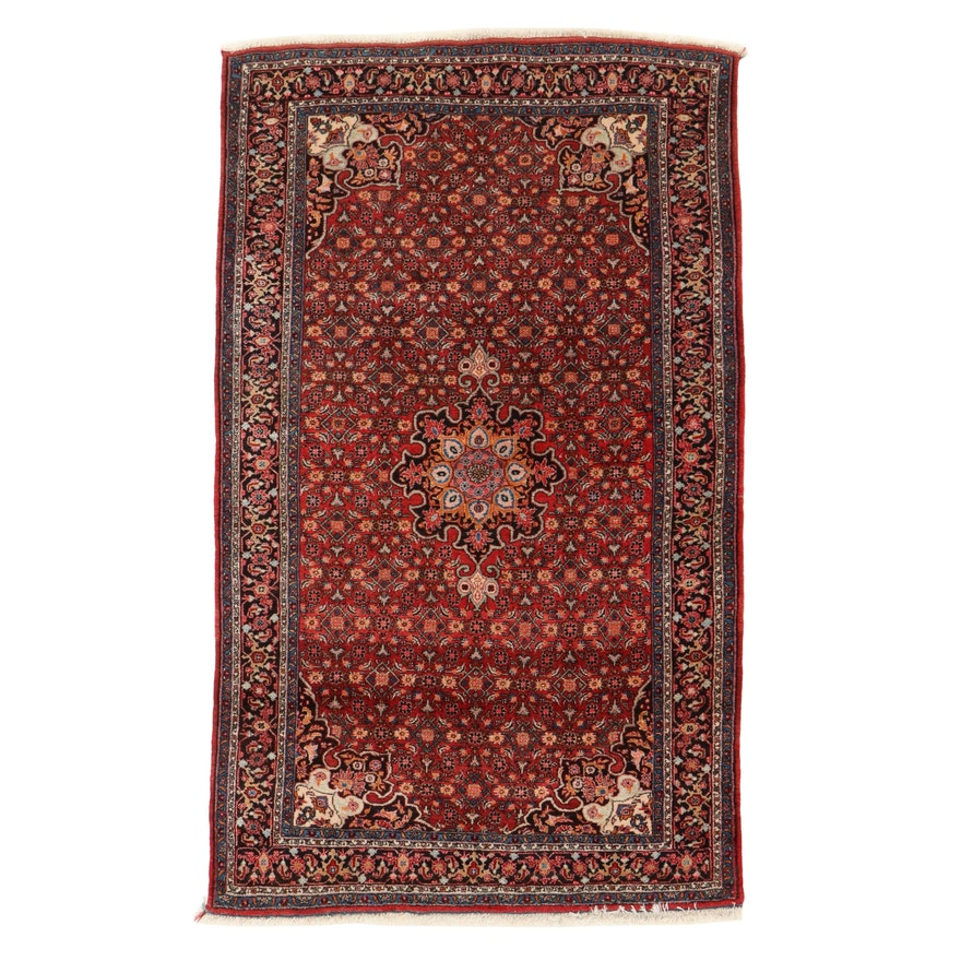5'5 x 9'2 Hand-Knotted Persian Bijar Herati Wool Area Rug