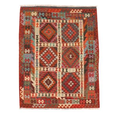 5'1 x 6'9 Handwoven Turkish Caucasian Kazak Kilim Rug, 2010s