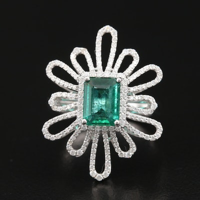 18K 1.40 CT Emerald and Diamond Openwork Halo Ring