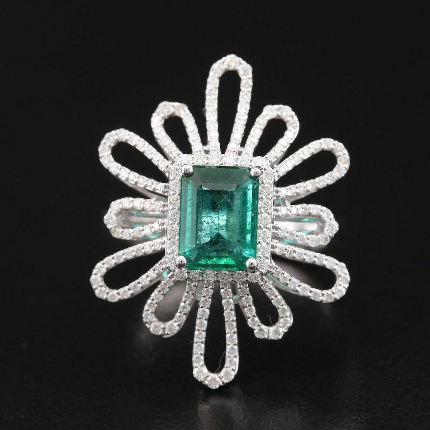 18K 1.40 CT Emerald and Diamond Openwork Halo Ring