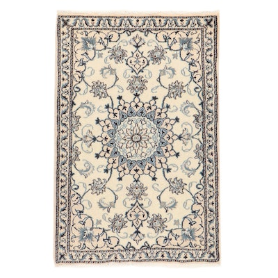 3' x 4'7 Hand-Knotted Persian Nain Silk Blend Rug, 2000s
