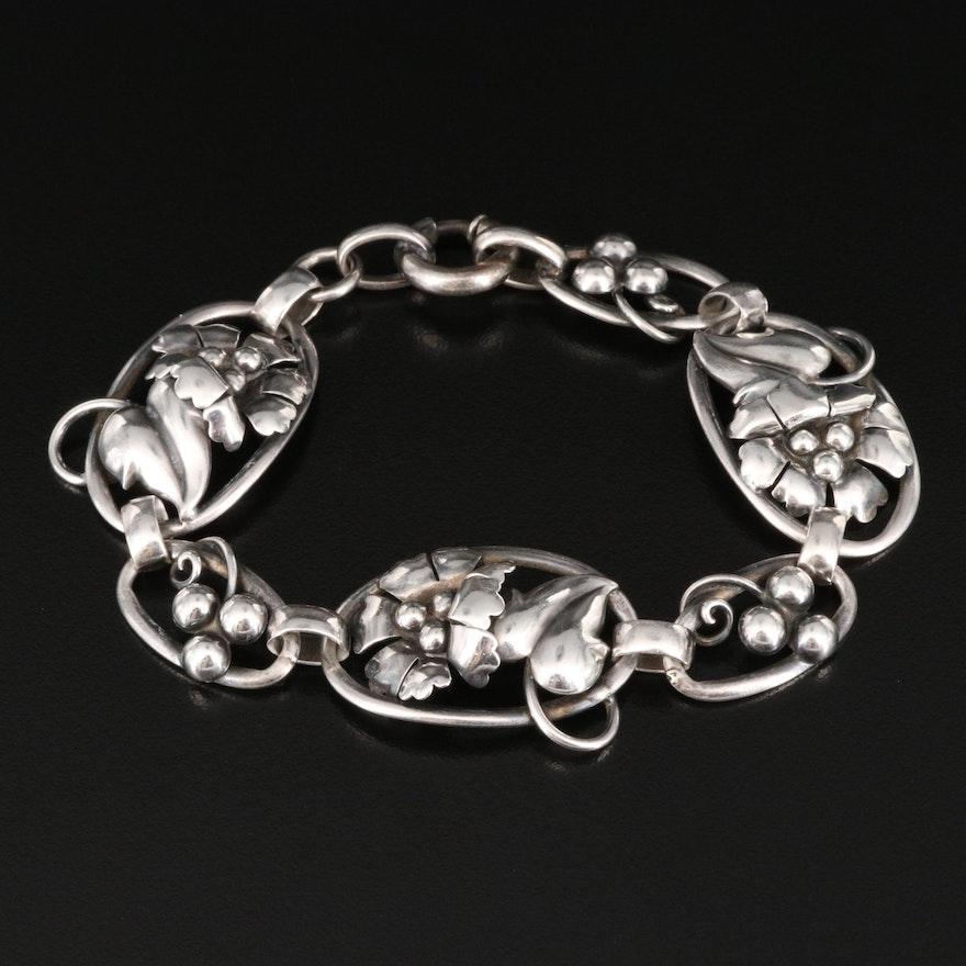 Vintage Carl-Art Sterling Floral Link Bracelet