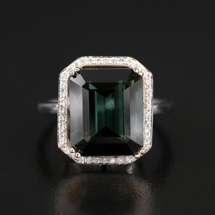 14K 6.00 CT Tourmaline and Diamond Ring