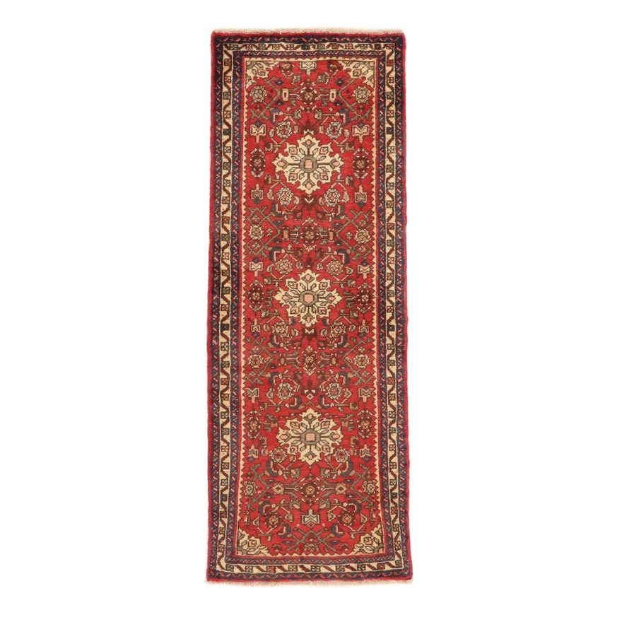 2'4 x 6'5 Hand-Knotted Persian Nahavand Carpet Runner, 1980s