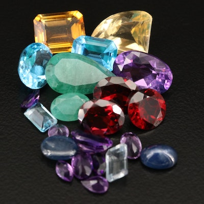 Loose 35.09 CTW Gemstones Including Amethyst, Emerald and Topaz