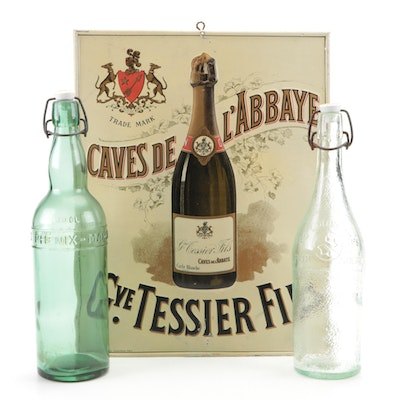 French Metal Wine Advertising Sign with Glass Bottles, Vintage