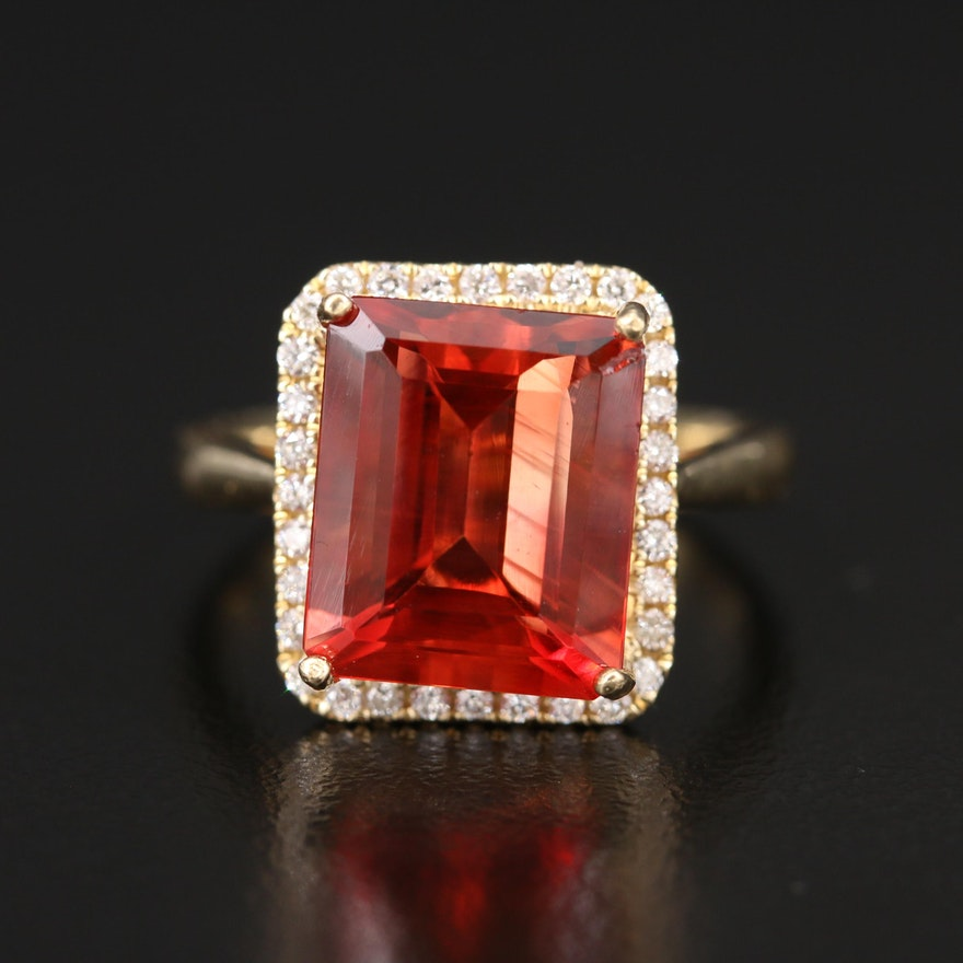 14K 5.24 CT Andesine and Diamond Ring