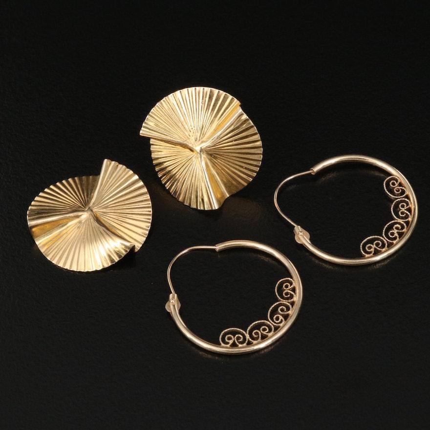 14K Hoop and Pleated Earrings