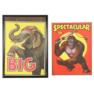 Kraft Circus-Themed Advertising Posters, Mid-20th Century