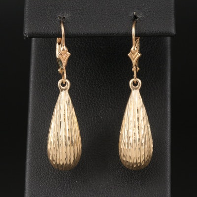 14K Textured Teardrop Earrings