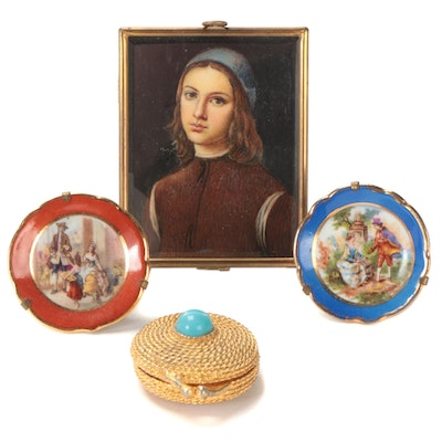 Miniature Oil Painting after Pietro Perugino, Limoges Porcelain Plates, and More