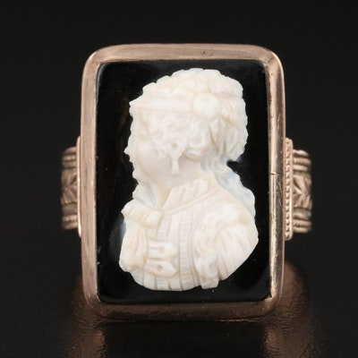 Victorian Onyx Cameo Ring