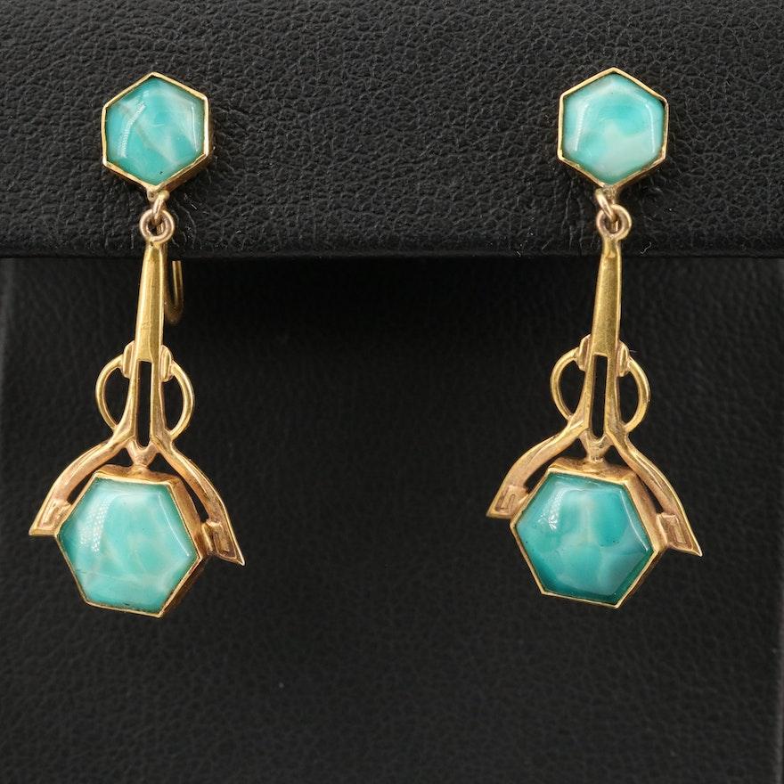 Art Deco 10K Peking Glass Screw Back Earrings