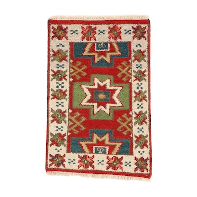 2'1 x 3'3 Hand-Knotted Indo-Caucasian Kazak Rug, 2010s