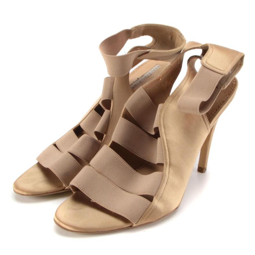 Stella McCartney Metallic Satin Strappy Open Toe High Heel Sandals