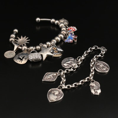 Sterling Cuff and Angel Themed Charm Bracelet