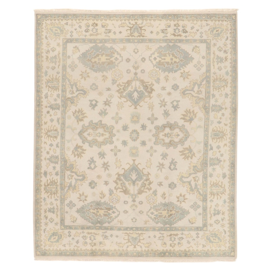 8'2 x 10' Hand-Knotted Indo-Turkish Oushak Rug, 2010s