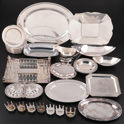 Spanish 900 Silver Footed Tray with Silver Plate Tableware