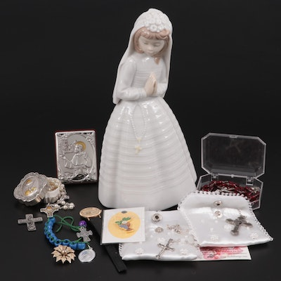 "Lladró Nao ""Girl Praying"" Figurine with Rosary Beads and Crucifix Necklaces"