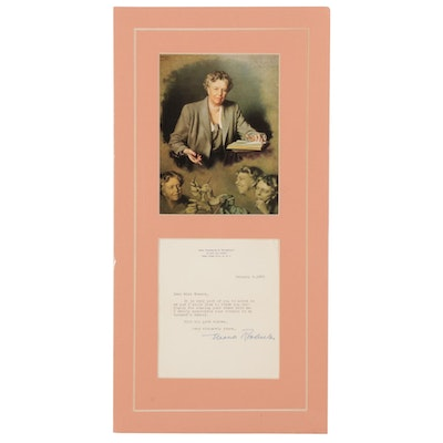 Eleanor Roosevelt Autographed Letter and Offset Lithograph