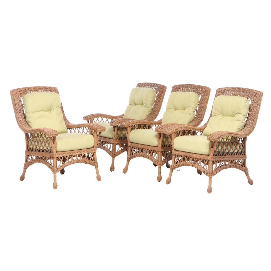 Four Contemporary Wicker Patio Armchairs
