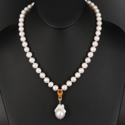 Sterling Pearl and Citrine Necklace