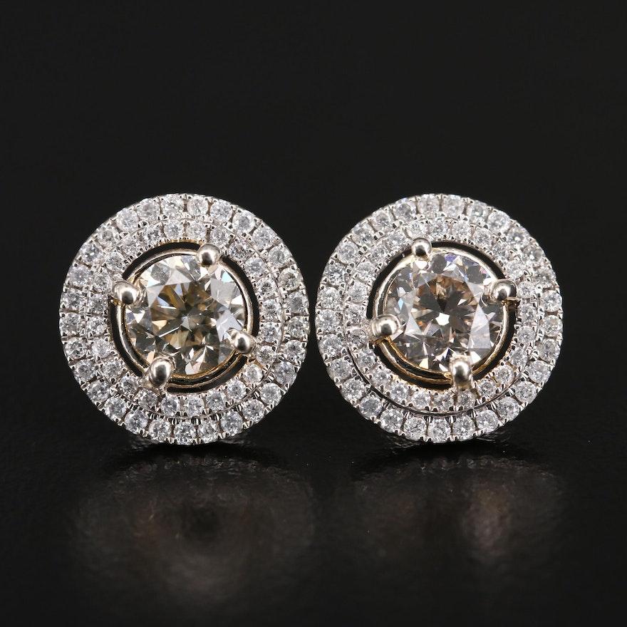 14K Diamond Double Halo Earrings with 2.03 CTW Center Diamonds