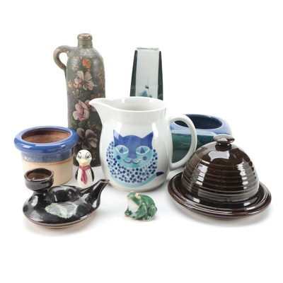 Arabia of Finland Cat Motif Pitcher, Ceramic Cloche, Figurines and Vases