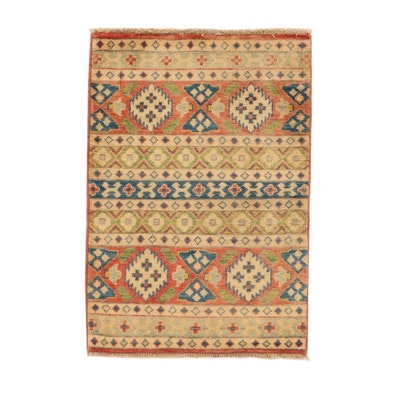 2' x 3' Hand-Knotted Afghan Caucasian Kazak Rug, 2010s