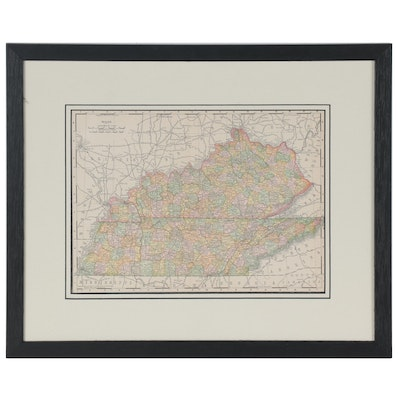"""Rand McNally & Co. Hand-Colored Lithograph Map """"Kentucky and Tennessee,"""" 1895"""