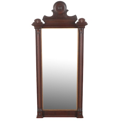 Victorian Walnut and Parcel-Gilt Pier Mirror, Late 19th Century