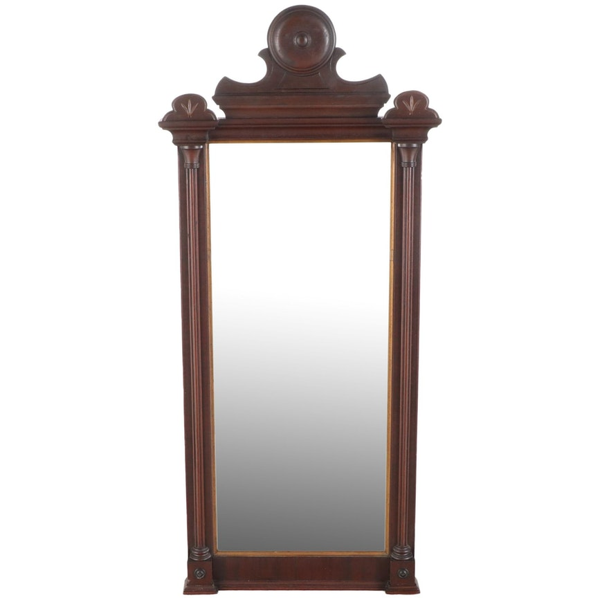 Victorian Walnut and Parcel-Gilt Pier Mirror, Late 19th Century