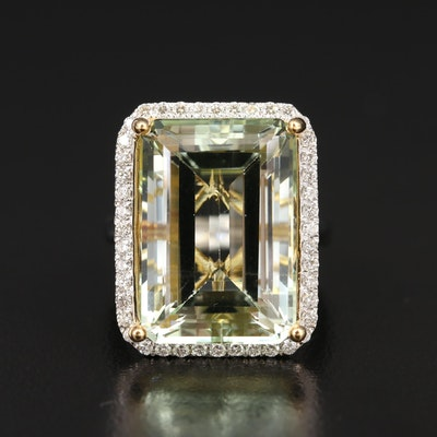 14K 18.29 CT Lemon Quartz and Diamond Ring