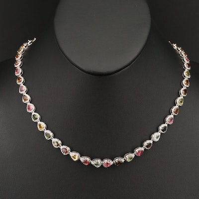 Sterling Tourmaline and 1.53 CTW Diamond Necklace
