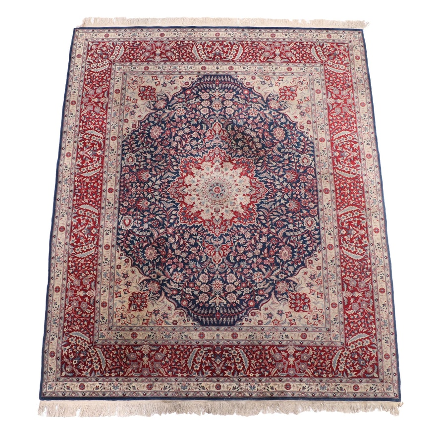 8'2 x 10'8 Hand-Knotted Persian Isfahan Wool Area Rug