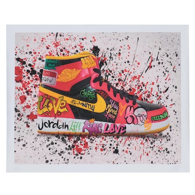 Pop Art Giclée of Air Jordan Shoe with Graffiti, 21st Century