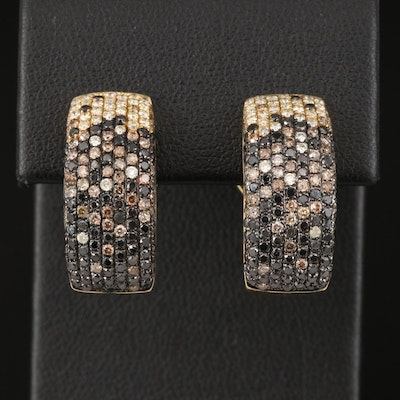 18K 1.40 CTW Diamond J Hoop Earrings